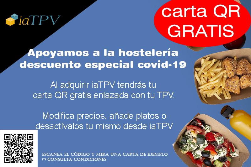 Promoción iaTPV Software para Hostelería COVID-19 con Carta QR Gratis